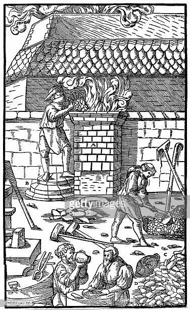 Blast furnace for smelting iron ore From Agricola 'De re Metallica' Basle 1556 Woodcut