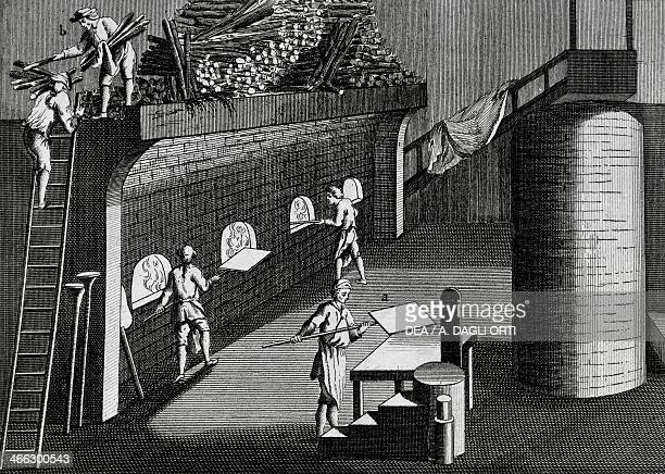 Blast furnace for the processing of mirrors engraving Italy 18th century