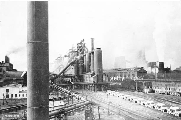 Blast furnace of the magnitogorsk iron and steel works the largest in the soviet union 1930s