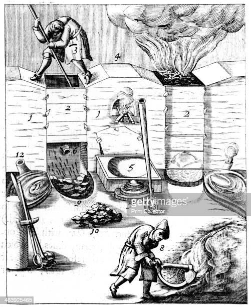 Blast furnaces 1683 Illustration from the 1683 English edition of Beschreibung Allerfurnemisten Mineralischen Ertzt by Lazarus Ercker published in...