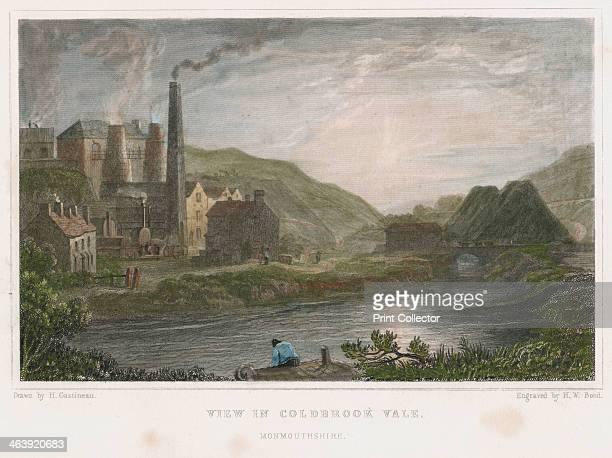 Blast furnaces for production of iron at Coalbrookdale Shropshire c1830 This scene is on the river Severn a few miles from Ironbridge On the left...