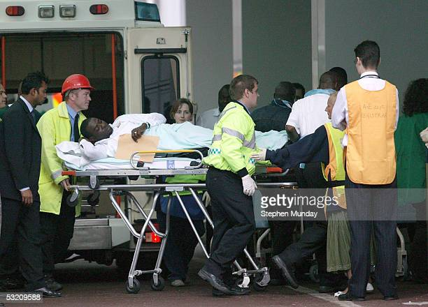 A blast victim is taken in to University College Hospital on July 7 2005 in London England A series of bombs exploded on the underground network and...