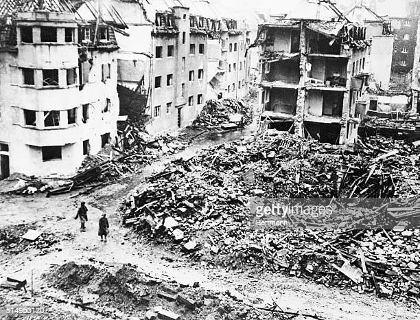 Blasted buildings and debris litter the town of AachenForst which is approximately 150 yards from the city of Aachen which is now completely...
