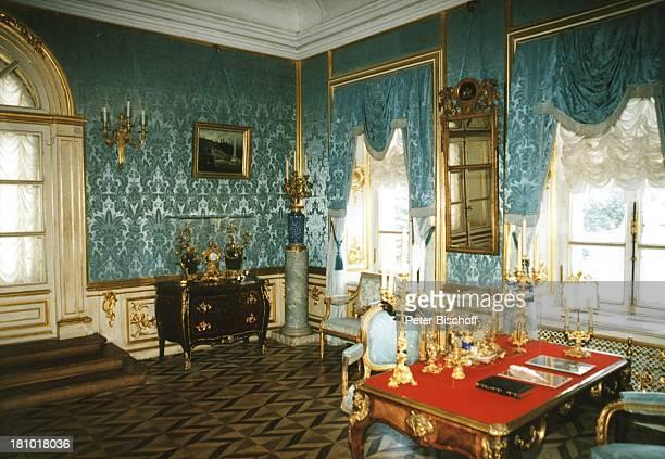 """Blauer Empfangssaal im Schloss """"Petershof"""", bei St. Petersburg, , Russland, Europa, Reise,"""