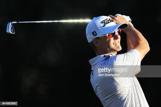 Blayne Barber of the United States plays his shot from the seventh tee during the first round of The Honda Classic at PGA National Resort and Spa on...