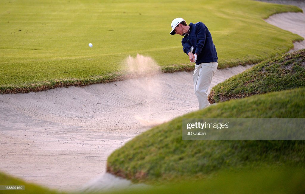 Blayne Barber takes his second shot on the seventh hole during round one of the Northern Trust Open at Riviera Country Club on February 19, 2015 in Pacific Palisades, California.