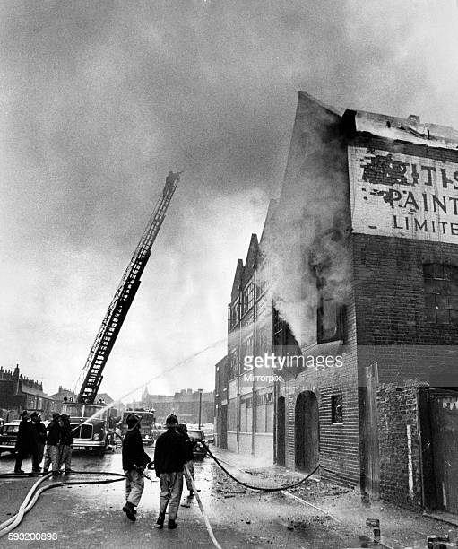 Blaze at derelict paint warehouse in Short Street Middlesbrough 10th March 1971