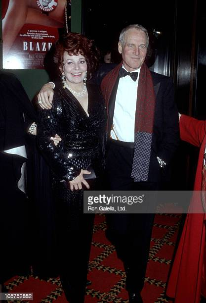Blaze Starr and Paul Newman during Blaze New York Premiere at Ziegfeld Theater in New York City New York United States