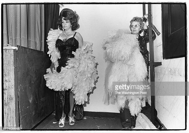 Blaze Starr waits with her wardrobe mistress before Burlesque show at the New Plaza Theatre on Oct 4 1974