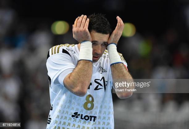 Blazenko Lackovic of Kiel reacts during the EHF Champions League Quarter Final first leg match between THW Kiel and Barcelona at the Sparkasse Arena...