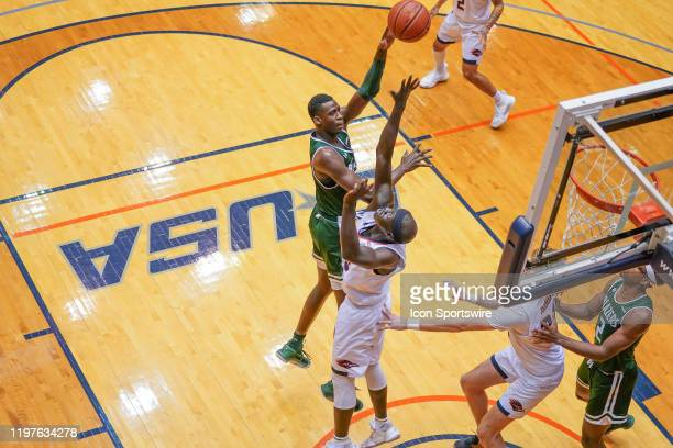 Blazers forward Makhtar Gueye shoots during the NCAA game between the UAB Blazers and the UTSA Roadrunners on January 30 2020 at the UTSA Convocation...