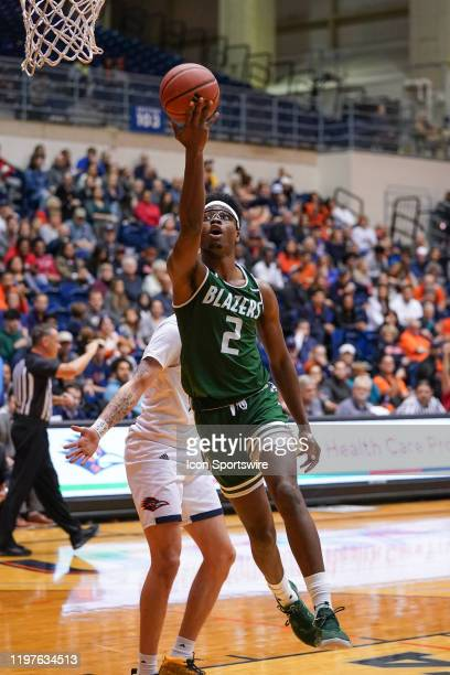 Blazers forward Tamell Pearson shoots during the NCAA game between the UAB Blazers and the UTSA Roadrunners on January 30 2020 at the UTSA...