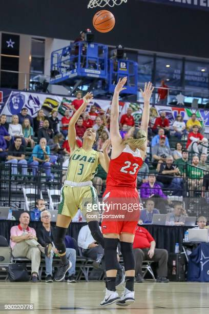 Blazers guard Angela Vendrell shoots over Western Kentucky Lady Toppers forward Ivy Brown during the Conference USA Women's Basketball Championship...
