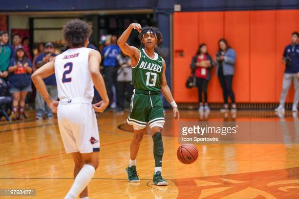 Blazers guard Jalen Benjamin brings the ball up the court during the NCAA game between the UAB Blazers and the UTSA Roadrunners on January 30 2020 at...