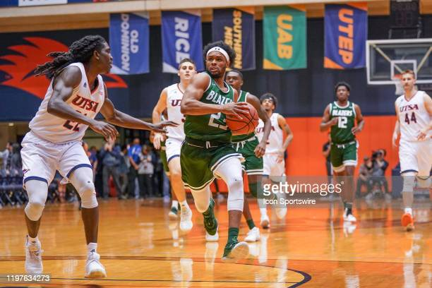 Blazers guard Jordan Brinson drives in during the NCAA game between the UAB Blazers and the UTSA Roadrunners on January 30 2020 at the UTSA...