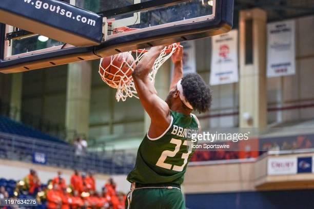 Blazers guard Jordan Brinson dunks the ball during the NCAA game between the UAB Blazers and the UTSA Roadrunners on January 30 2020 at the UTSA...