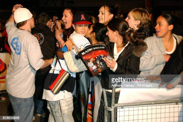 Blazin Squad meet fans during their appearance on MTV's TRL UK at the MTV Studios in Camden north London