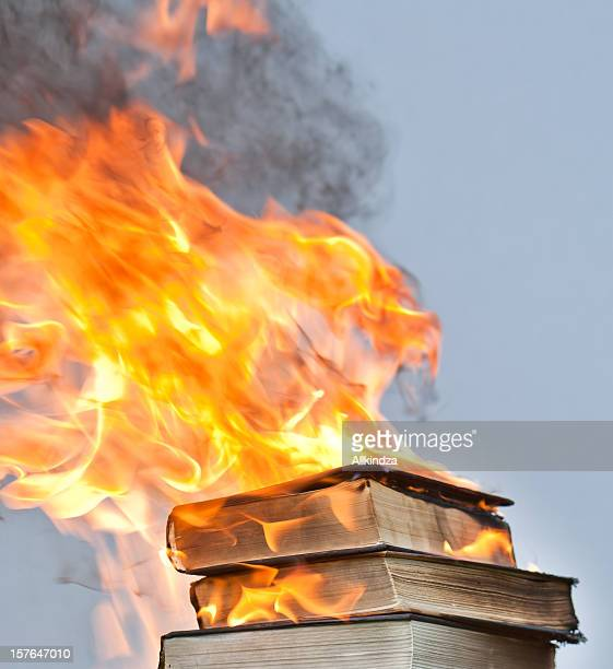 blazing hardcover books - book burning stock pictures, royalty-free photos & images