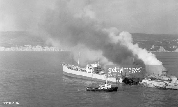 Blazing tanker angers town Firemen stationed on a tug fight the blaze aboard the tanker Sitakund off Eastbourne The 15500 ton Norwegian tanker caught...