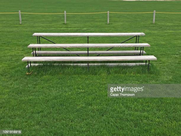 bleach seating at sport's field - bleachers stock pictures, royalty-free photos & images