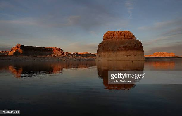 A bleached bathtub ring is visible on Lone rock at Lake Powell on March 29 2015 near Big Water Utah As severe drought grips parts of the Western...
