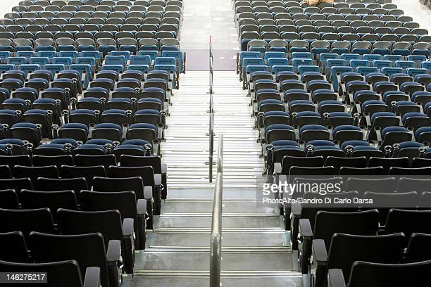 Bleachers in stadium, high angle view