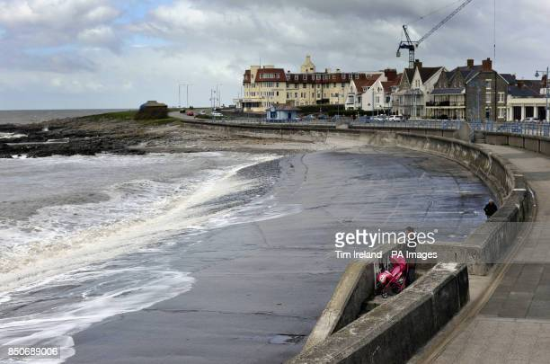 Bleak day on the seaside at Porthcawl in south Wales as Winds of up to 65mph battered British coastlines during the night resulting in trees blown...