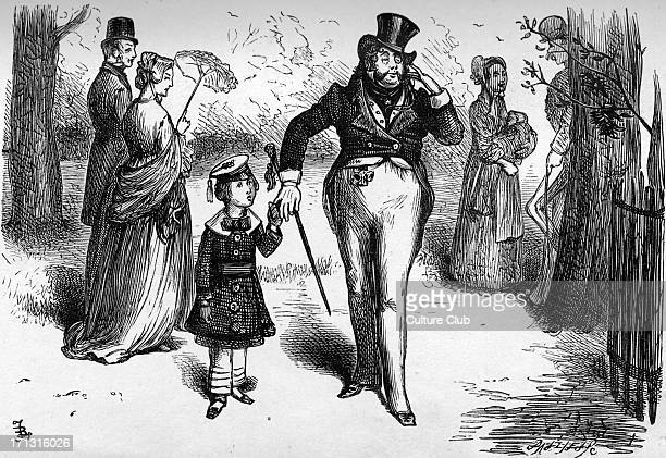 Bleak House by Charles Dickens Caption reads 'Peepy was sufficiently decorated to walk hand in hand with the professor of deportment' CD English...