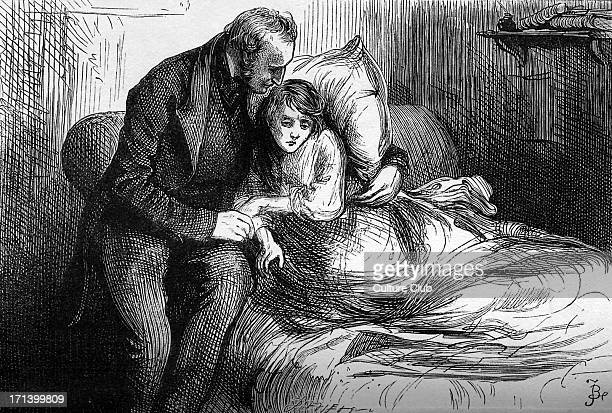 Bleak House by Charles Dickens. Caption reads:'The cast is shaken all to pieces, and the rugged road is very near its end.' Mr. Sangsby and Jo. CD:...