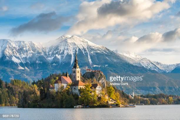 bled, upper carniola, slovenia, europe - bledsjön bildbanksfoton och bilder