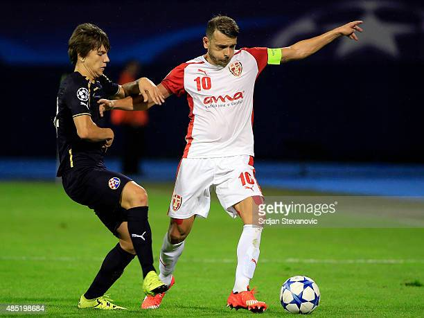 ZAGREB CROATIA AUGUST 25 Bledi Shkembi of KF Skenderbeu in action against Ante Coric of Dinamo Zagreb during the UEFA Champions League Qualifying...