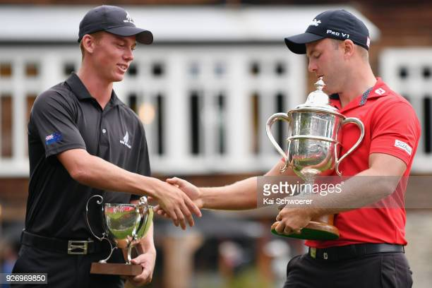 Bledisloe Cup winner Daniel Hillier of New Zealand and Brodie Breeze Challenge Cup winner Daniel Nisbet of Australia shake hands during day four of...