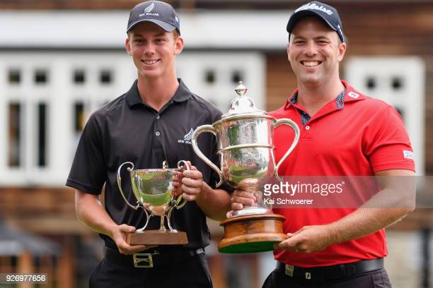 Bledisloe Cup winner Daniel Hillier of New Zealand and Brodie Breeze Challenge Cup winner Daniel Nisbet of Australia pose during day four of the ISPS...