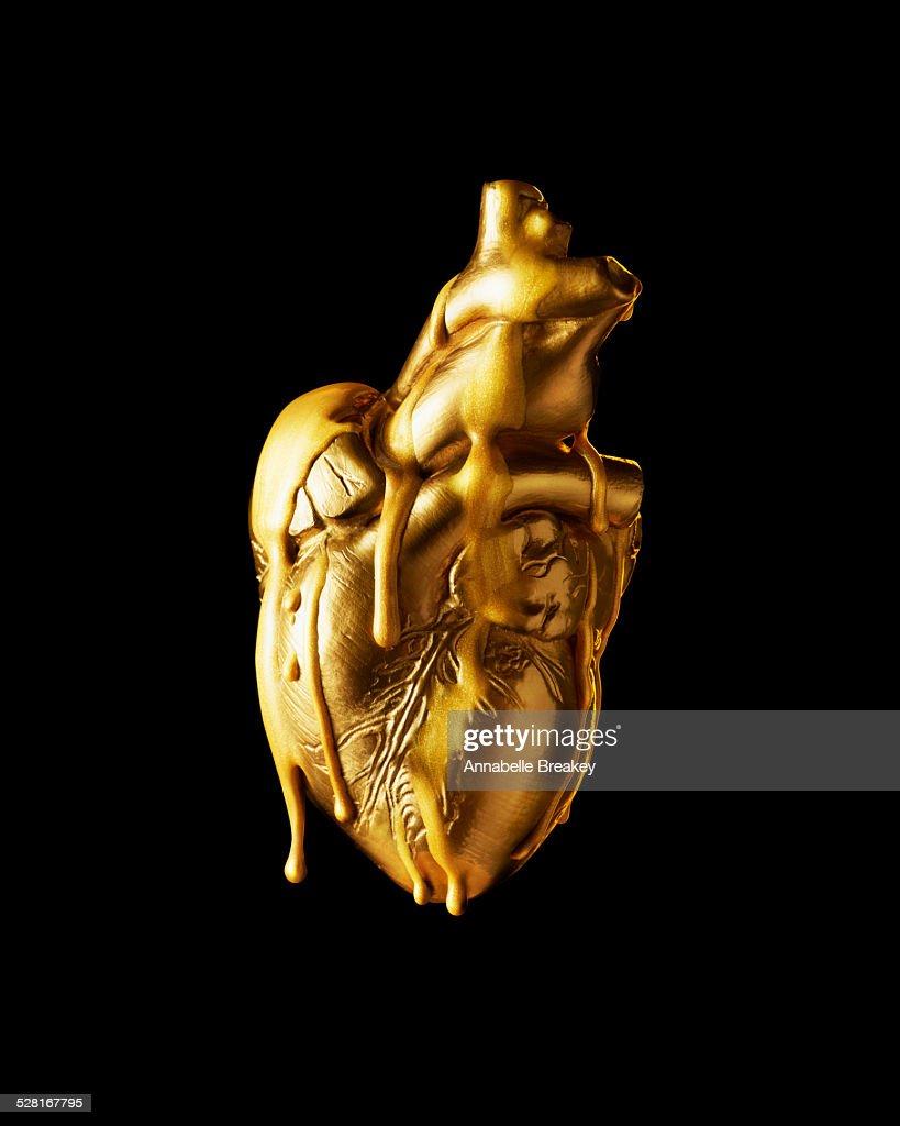 """""""Bleeding"""" Gold Heart Conceptual Still Life : Stock Photo"""