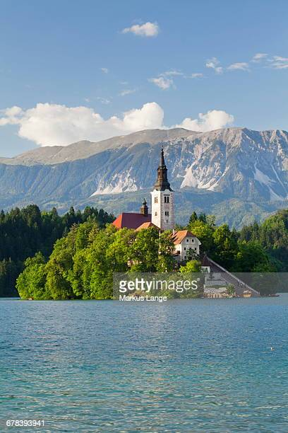 Blejski Otok Island with Santa Maria Church, Lake Bled, Gorenjska, Julian Alps, Slovenia, Europe