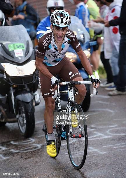Blel Kadri of France and AG2R La Mondiale makes the climb of the Col de Grosse Pierre as he went on to win stage eight of the 2014 Le Tour de France...