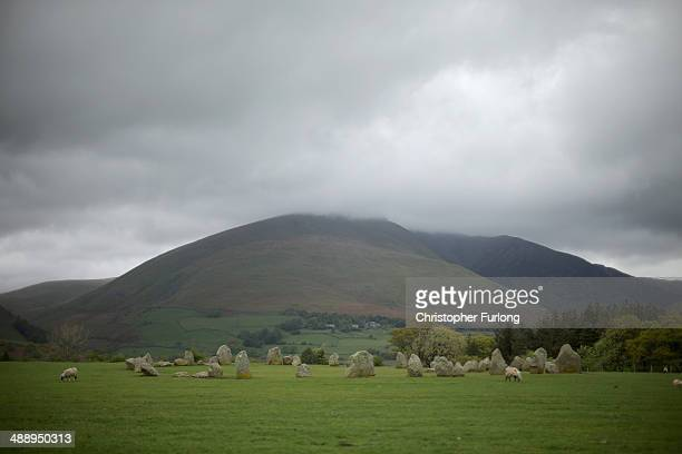 Blencathra Mountain which is up for sale overlooks the Neolithic stone circle of Castlerigg on May 9 2014 in Keswick United Kingdom The Earl of...