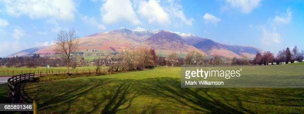 blencathra panorama. - blencathra stock photos and pictures