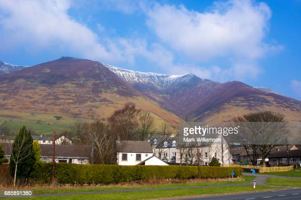 blencathra rises above threlkeld. - blencathra stock photos and pictures