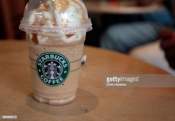 Blended coffee drink sits on a table at a Starbucks Coffee shop in lower Manhattan August 21, 2009 in New York City. Starbucks, America's dominant...