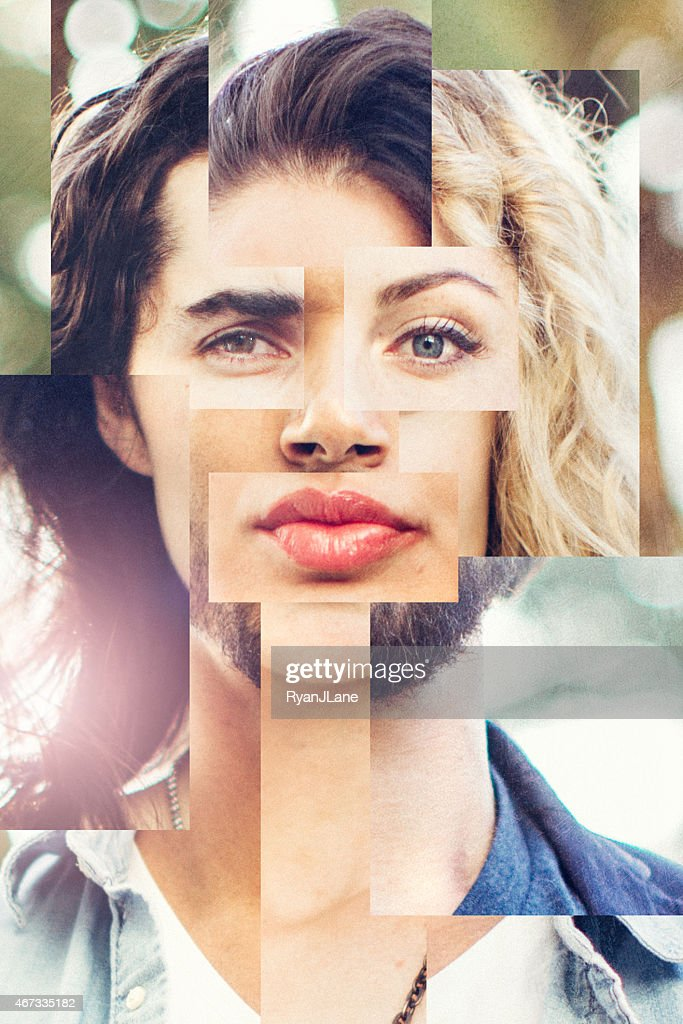 Blended Face of Men and Woman : Stock Photo