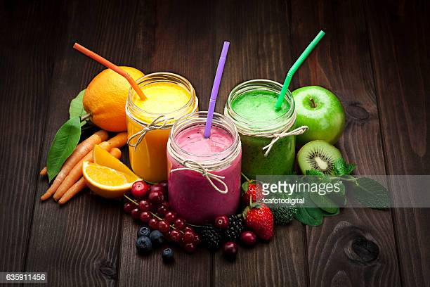 Blended fruit smoothies