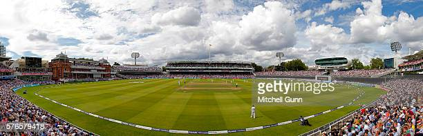 Blended panoramic general view created in editing software during day three of the 1st Investec Test match between England and Pakistan at Lords...