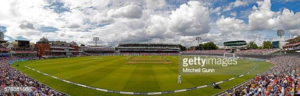 A blended panoramic general view created in editing software during day three of the 1st Investec Test match between England and Pakistan at Lords...