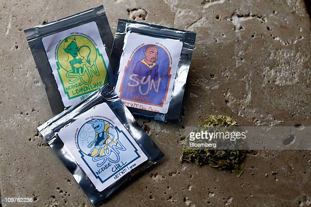 """Blends of Syn Incense, known as """"fake pot"""" by regulators, are arranged for a photograph in Kansas City, Missouri, U.S., on Thursday, March 3, 2011...."""