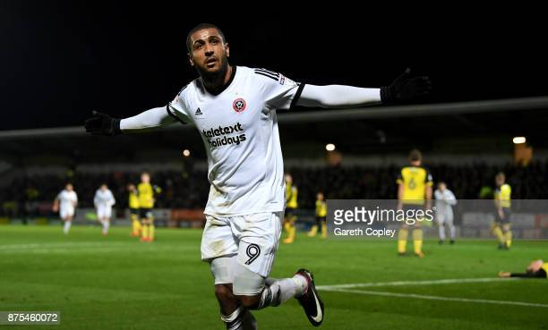 BLeon Clarke of Sheffield United celebrates scoring his team's 3rd goal during the Sky Bet Championship match between Burton Albion and Sheffield...