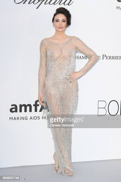 Bleona Qereti arrives at the amfAR Gala Cannes 2018 at Hotel du CapEdenRoc on May 17 2018 in Cap d'Antibes France