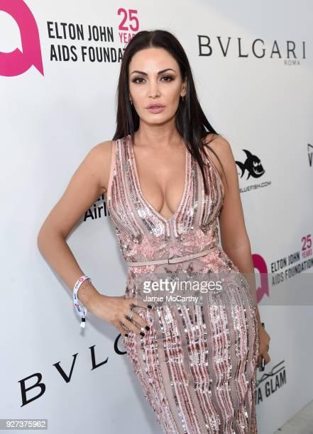 Bleona Qereti attends the 26th annual Elton John AIDS Foundation Academy Awards Viewing Party sponsored by Bulgari celebrating EJAF and the 90th...