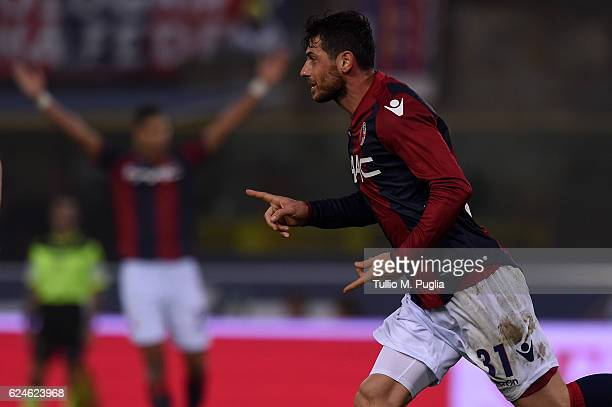 Blerim Dzemaili of Bologna celebrates after scoring his team's second goal during the Serie A match between Bologna FC and US Citta di Palermo at...