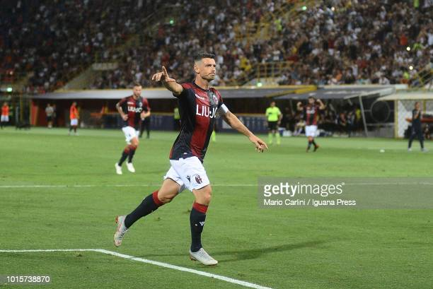 Blerim Dzemaili of Bologna FC celebrates after scoring a goal from the penalty spot during the Coppa Italia match between Bologna FC and Padova at...